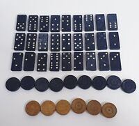 Vintage Dominos Set x28 & x15 Draughts pieces 1940s game