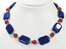 Lapislazuli necklace in Rectangular Shape with spacer beads made of Red Agate