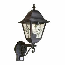 Norfolk Up Wall Black Exterior Lantern Light With PIR