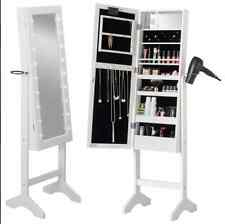 WHITE LED FLOOR STANDING MIRROR CABINET MAKE UP STORAGE CUPBOARD MIRROR NEW
