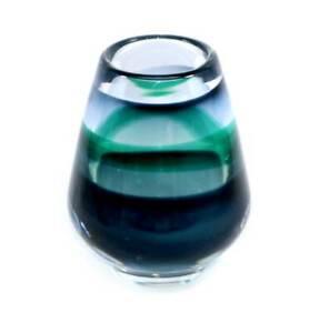 Vintage beautiful blue & green heavy art glass vase believed Murano