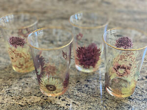 Williams Sonoma Harvest Bloom Tumblers, Set of four glasses