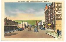 Postcard Montana Missoula Down Town Bank Buildings Cars White Border Linen