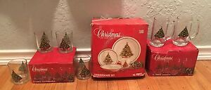 Complete Set of Dinnerware-Christmas By Carlton-16 piece Dinnerware/6 pc glasses
