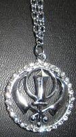 PROTEZIONE AMULETO placcato argento FANTASTICO SIKH Singh KHANDA talismano