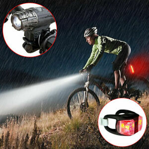 Bike Bicycle LED Lights Front Back Headlight USB Rechargeable Set Mountain Cycle
