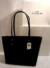 NWT COACH**BLACK CROSSGRAIN LEATHER**GOLD TONE**ZIPPER CITY TOTE # F58292