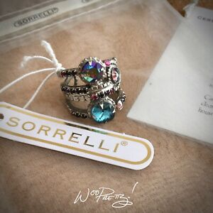 SORRELLI Stacked Crystal Band Ring Antique Silver-tone NORTHERN LIGHTS Pre-Owned
