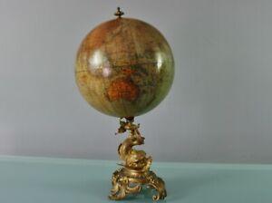 Antique Ernst Schotte Berlin Terrestrial Globe d. 25cm BRONZE DOLPHIN STAND! 188