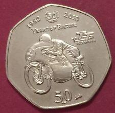 2010 Isle of Man IOM TT Fifty Pence  50p Coin RARE UNCirculated