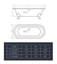 Double Ended Cast Iron Bath + DeckTaps & Waste/Trap Kit 1550mm NO Tap Holes