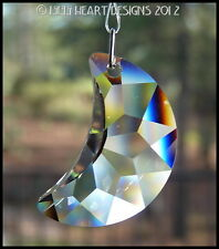 "Swarovski Crystal BIG 2"" Moon VERY RARE Suncatcher 6722 50mm Lilli Heart Designs"