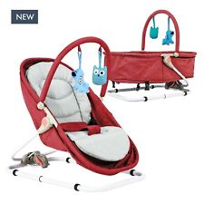 Hibinate 2-in-1 Cradle Bed for Infants, Babies, Newborns Bassinet to Bouncer Red