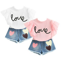 Toddler Baby Girls Summer Clothing Outfits 2Pcs Kid Tops+Denim Shorts Set Casual