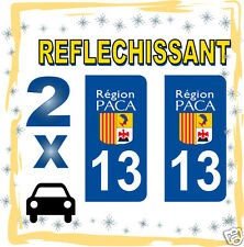 2 stickers REFLECHISSANT département 13 rétro-réfléchissant immatriculation AUTO