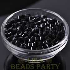 100pcs 4mm Cube Square Faceted Crystal Glass Loose Spacer Beads Black