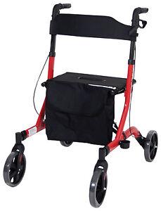 Aidapt Deluxe Ultra Lightweight Adjustable Folding 4 Wheeled Rollator Aid - Red