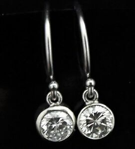 Diamond Stud Dangle Earrings Bezel Drops French Hook 14k White Rose Yellow Gold