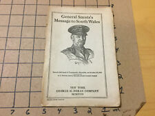vintage Original - General Smuts'S Message to South Wales - 1918
