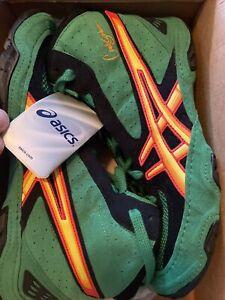 asics Cael V3.0 size 8 Wrestling  Shoes deadstock team green/flame/black NIB