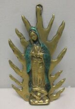Holy Mother Solid Brass Hanging Plaque Madonna Our Lady Vintage