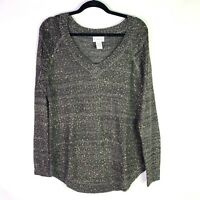 Soft Surroundings Womens Sweater Top Sz S Gray Sequins Long Sleeve V Neck Gold