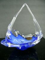 VINTAGE ITALIAN MURANO BLUE GLASS BOWL CANDY DISH BASKET BEAUTIFUL!