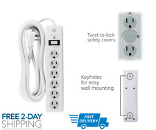 GE6 Outlet Surge Protector 10 Ft Extension Cord Power Strip 800 Joules Flat Plug