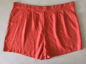WILD FABLE Women's Red Linen Blend Pleated High Rise Elastic Waist Shorts 3X