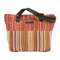 Boho Tote Bag for Women Canvas Travel Orange Shoulder Handbag Leather Straps