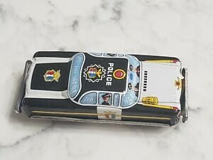Vintage 1960s Tin Litho Friction Toy Police Car 6544 Made Japan 3.75""