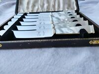Superb ART DECO Carved Mother Pearl Francis Howard Butter Knives Exquisite