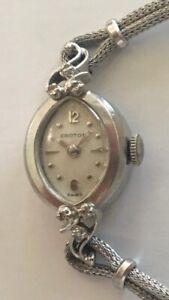 Vintage Croton 14K Gold 17 Jewel 6 Diamond Woman's Fashion Bracelet Wrist Watch