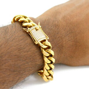 14k Gold Miami Cuban Chain Link Bracelet For Men Stainless Steel Diamond Clasp