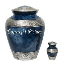 New Elite Blue and Silver Funearal Cremation Urn- Adult Urn ~Free Keepsake!