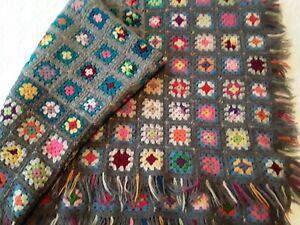 """Vtg Crochet Granny Square Afghan Throw Blanket Gray Blue Multi 50 x 72"""" Fringe"""