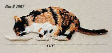 1pc Brown/ White Calico Cat Kitty w/Pink Plaid Cape Iron On Embroidered Applique