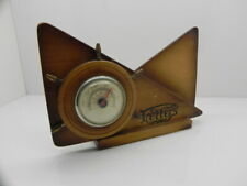 WOODEN LETTER RACK / HOLDER & THERMOMETER SHIP WHEEL NAUTICAL DESIGN