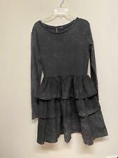 ZARA BLACK FADED SHORT MINI DRESS WITH RUFFLES LONG SLEEVE SIZE S #1648S