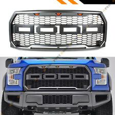 FOR 2015-17 FORD F150 RAPTOR STYLE FRONT HONEYCOMB MESH GRILL W/ AMBER LED LIGHT
