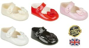 New Baby Girls Spanish Romany Soft Sole Bow Button Patent Baypods Pram Shoes