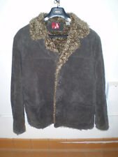 Men's Dark Brown Leather Suede Jacket w/ Faux Fur Lining Size M