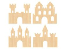 Wooden Castle Craft Shapes Pack of 4 - kids activity, colour in, paint, decorate