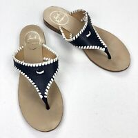 Jack Rogers Navy Blue White Leather Flat Sandals • Size 6 M