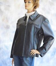 FIRST Ladies Black Leather Motorcycle Jacket Sz XXL Nylon Lined Braided Detail