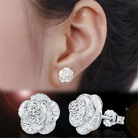 Women Silver Plated Earings Lovely Flower Ear Stud Earings Fashion Jewelry、New