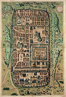 1584 Map of Jerusalem Israel Holy City Vintage History Wall Art Poster Print
