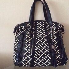Amazing Leather Bi-Color Woven Stylish Zip Shoulder Bag
