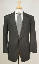 Bespoke OXXFORD 'Heritage' Super 120s Dark Gray Striped Wool Suit 40 S R