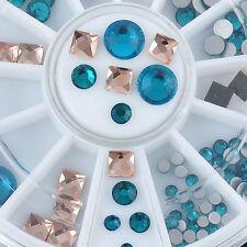 3D DIY Nail Art Tips Decoration 2 Color Square Round Glitter Glass Rhinestone L7